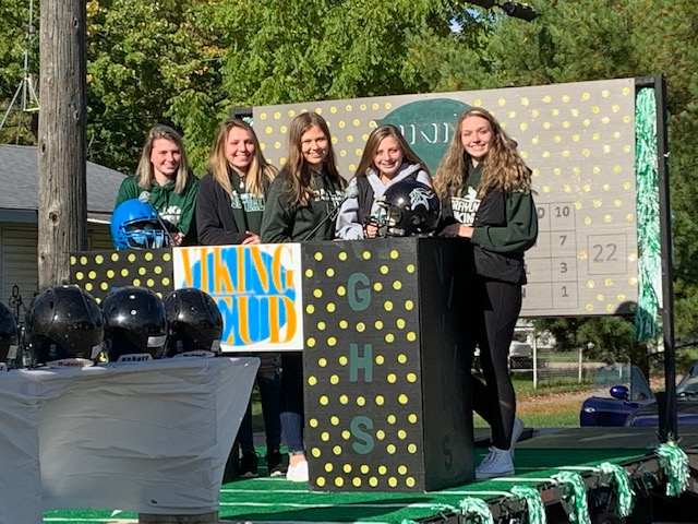 Girls on a Homecoming float